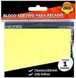 Bloco Adesivo para Recado Jocar Cor Amarelo 76mmx76mm R.91112 Com 100 Folhas