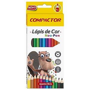 Lápis de Cor Neo Pen Compactor Com 12 Cores