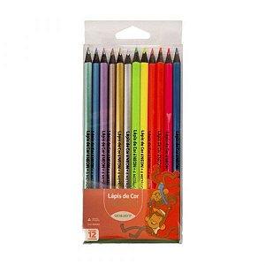 Lápis de Cor Leleo Cores Neon Metálicas R.72107 Com 12 Cores
