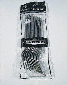 Garfo Plástico Rfestas Cor Prata R.ydh0311 Pacote Com 12