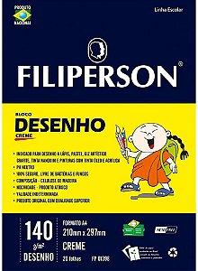 Bloco Escolar Desenho Filiperson 140Gr A4 Creme Com20 Folhas R.01398