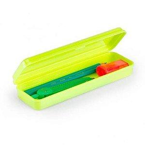 Estojo Plástico Waleu Amarelo Neon 20cm x 6cm x 3cm Unidade