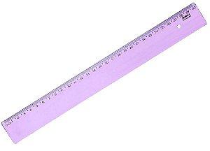 Régua Plástica Waleu New Line Lilas Pastel 30Cm Unidade