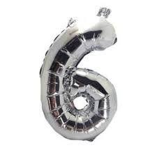 Balão Metalizado Número 6 Prata 40Cm Unidade