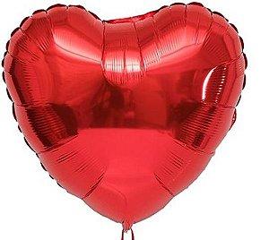 Balão Coração Vermelho 45cm Com Gás Hélio