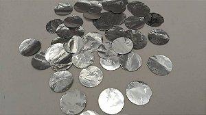Confete Metalizado Para Decoração de Balões e Bubbles Transparentes Formato Circulos Prata Pacote Com 15 Gramas
