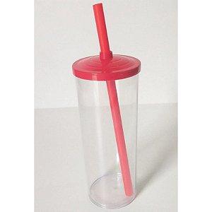Copo Long Drink Play Amalu Cristal Tampa Vermelho Solido 300Ml Unidade