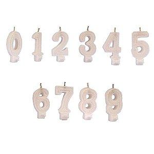 Vela de Aniversário Regina Números Com Glitter Cor Branca Unidade