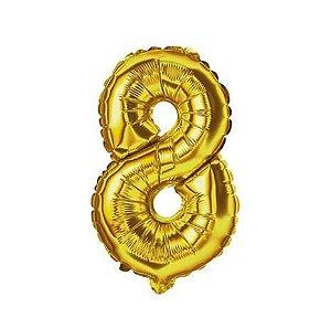 Balão Metalizado Número 8 Ouro 40cm Unidade