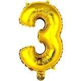 Balão Metalizado Número 3 Ouro 40cm Unidade