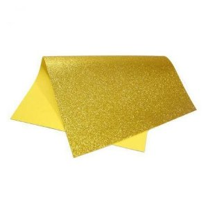 Placa Eva Com Glitter Dourado 40cmx48cm Unidade