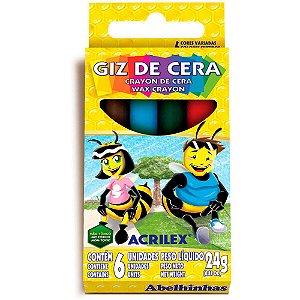 Giz de Cera Acrilex 24 gramas Com 6 Cores