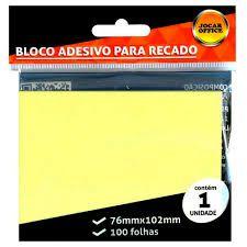 Bloco Adesivo para Recado Jocar Cor Amarelo 76mmx102mm R.91113 Com 100 Folhas