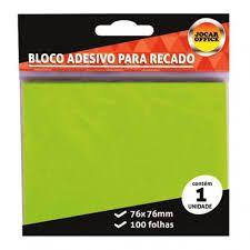 Bloco Adesivo para Recado Jocar Cor Verde 76mmx76mm R.91119 Com 100 Folhas