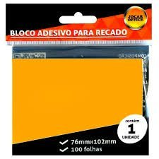 Bloco Adesivo para Recado Jocar Cor Laranja 76mmx102mm R.91124 Com 100 Folhas