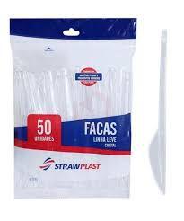 Faca para Refeição Strawplast Cristal Pacote Com 50