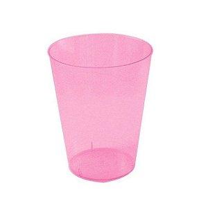 Copo Acrílico Cristal Rosa 200Ml Com 10