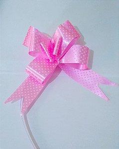 Laço Fácil 30Mm  Bolinhas Rosa e Branco R.2551807 Unidade