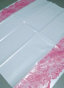 Toalha Plástica Com Barra Rosa 70X70 Com 10