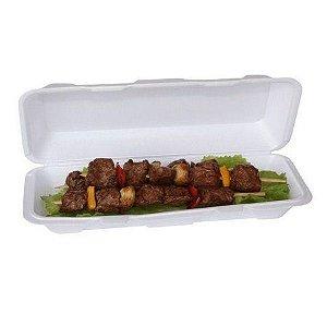 Embalagem de Isopor Meiwa Hm07 Branca para churrasco com tampa pacote com 10