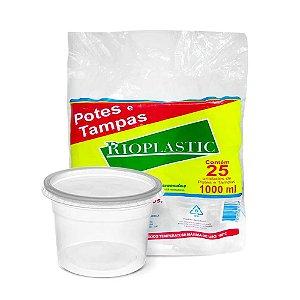 Pote Redondo Plástico Descartável Com Tampa 1000 ml Com 25 Kits