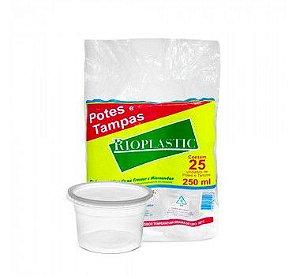 Pote Redondo Plástico Descartável Com Tampa 250 ml Com 25 Kits