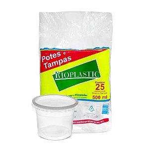 Pote Redondo Plástico Descartável Com Tampa 500Ml Com 25 Kits
