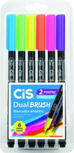 Marcador Art Dual Brush Neon Cis Estojo Com 6 Cores