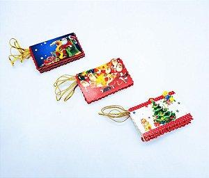 Mini Cartão De Papel Natal De/ Para 6,6cm Largura x 4,6 Altura R.ntf80724 Kit Cartela com 12 Cartões