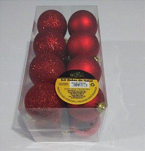 Bola de Natal 5cm Cor Vermelho R.ntb5202 Pacote Com 16 Unidades
