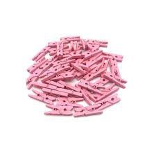 Enfeite Decorativo Mini Pregadores Cor Rosa Pacote Com 50