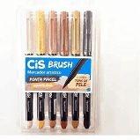 Marcador Artístico Cis Brush R.709800 Estojo Com 6 Cores Tons de Pele