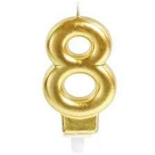 Vela Cromus Perolizada Ouro Número 8 Unidade