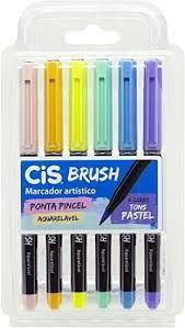 Marcador Artístico Cis Brush R.709700 Estojo Com 6 Cores Tons Pastéis