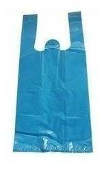 Sacola Plástica Camiseta Reforçada 60cm x 75cm Azul Fardo de 1KG