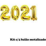 Kit Com 4 Balões Metalizados 2021 Cor Ouro 40cm