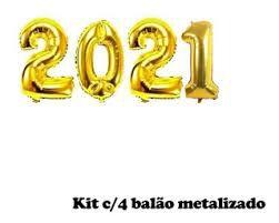 Kit Com 4 Balões Metalizados 2021 Cor Ouro 75cm