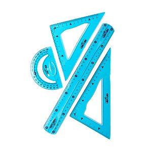 Jogo Geométrico Flexível Leoleo Cor Sortida Com 4 Peças R.4163 Unidade