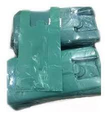 Sacola Plástica Camiseta Reforçada 60cm x 75cm Verde Fardo de 1KG