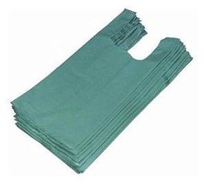 Sacola Plástica Camiseta Reforçada 80cm x 100cm Verde Fardo de 1KG