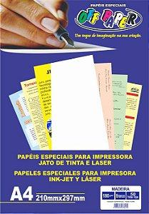 Papel Especial Off Paper Madeira Branco A4 180gr Pacote Com  50 Folhas