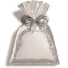 Saco para Presente Cromus Metalizado Prata ( Não acompanha o laço) 60cm x 90cm Unidade