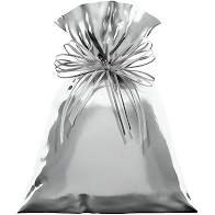 Saco para Presente Cromus Metalizado Prata (Não Acompanha Laço) 15cm x 44cm Unidade