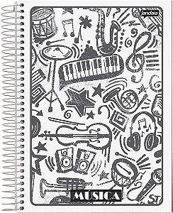 Caderno Espiral Para Música Universitário Capa Flexível Sortida Jandaia Basic Art 20cm x 27cm 40 folhas R.69695 Unidade