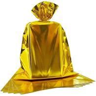 Saco para Presente Cromus Metalizado Dourado 20cm x 29cm (não Acompanha o Laço) Unidade