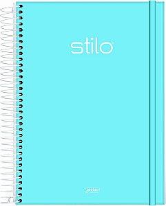 Caderno Espiral Universitário Capa Dura Jandaia Stilo Azul Pastel 20cm x 27cm 1 matéria 80 folhas STILO AZUL PASTEL R.68849