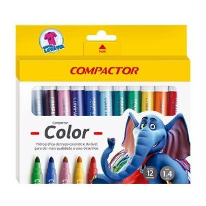 Pincel Hidrocor Compactor Color Estojo Com 12 Cores Sortidas R.158231