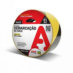 Fita De Demarcação De Solo Adere Preta E Amarela 5cm Largura x 30Metros Comprimento R.8561/S Unidade