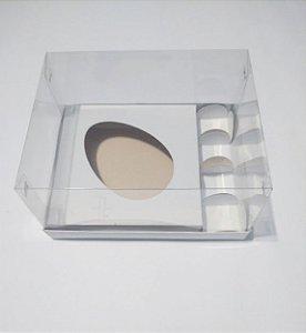 Caixa Para Ovo De Colher e Docinhos 250 Gramas Diagonal Duplex Base Branca + Berço Branco + Tampa de Acetato Transparente 18cm x 14cm x 9cm R.cxdpasc21216 Unidade