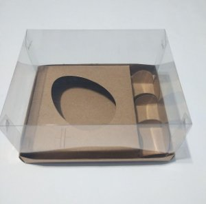 Caixa Para Ovo De Colher E Docinhos 250 Gramas Diagonal Base Kraft + Berço Kraft + Tampa de Acetato Transparente 18cm x 14cm x 9cm R.cxdpasc21217 Unidade